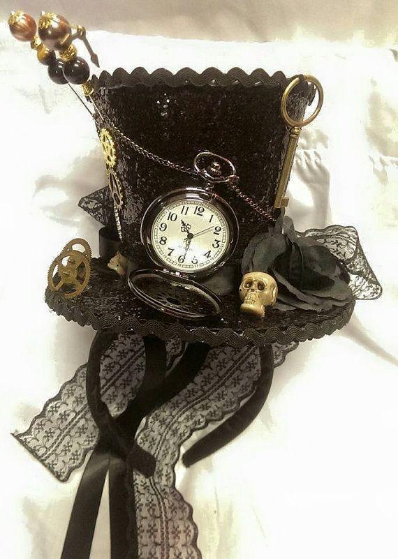 Steampunk-Zeit Gothic Cosplay schwarz Mini Hut Real von Mad4Hats