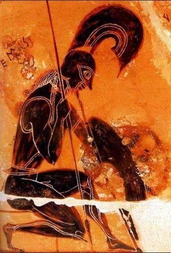 Ares - o Marte dos romanos - era o deus da guerra, mas nem sempre levava a melhor nos combates: foi ferido pelo herói Hércules e também pelo mortal Diomedes, na guerra de Troia. Na imagem, vê-se o deus retratado no fragmento de uma ânfora grega do século VII a.C. com a pintura característica de uma figura preta sobre fundo vermelho