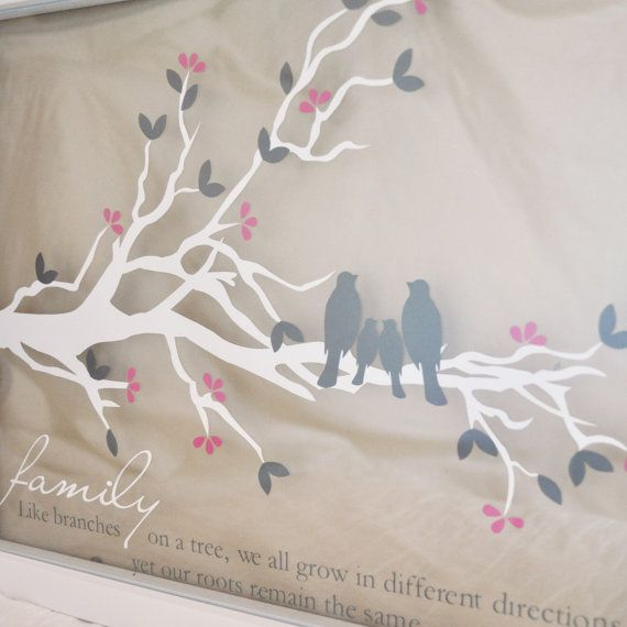 Personalized Family Tree Branch with Quote- Floating Frame Vinyl Art - Custom Colors and Sizes Avaialble on Etsy, $40.00
