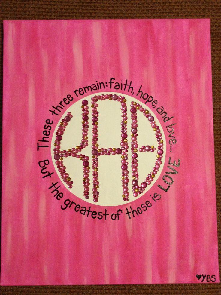 PAINTED BY ALYCIA :) Sorority canvas painting big little kappa alpha theta cute pink rhinestones sparkle TLAM
