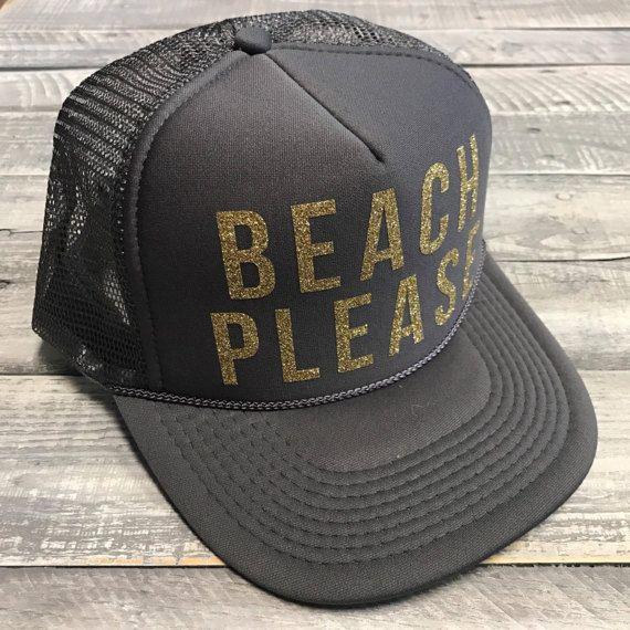 BEACH PLEASE Glitter Snapback Trucker Hat, One Size, Baseball, Yoga, pilates, barre, workout hat, Funny, Vacation, Vacay, Hawaii, mexico