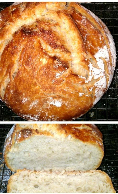 Easy No Knead Dutch Oven Bread. All you'll need are flour, instant yeast, salt and water.