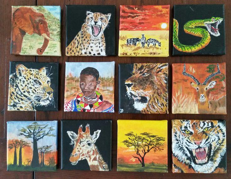 kleine schilderijtjes van 10x10 cm