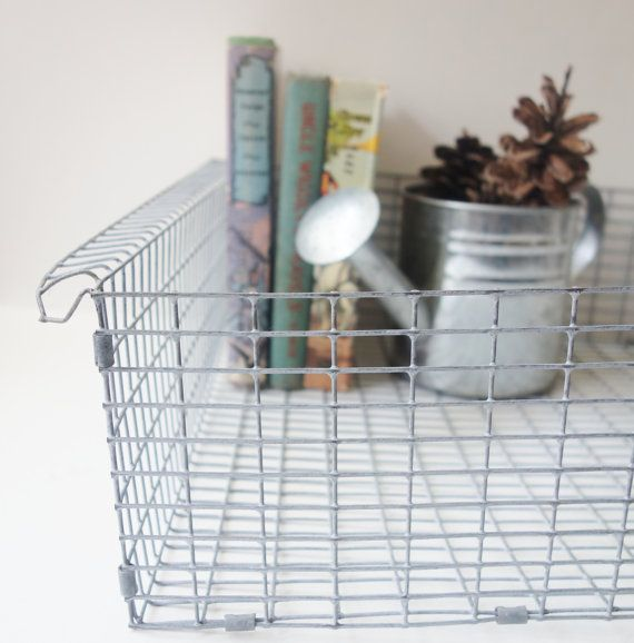 Vintage Wire Basket, Galvanized Chicken Wire, Mesh Basket, Towel Bin