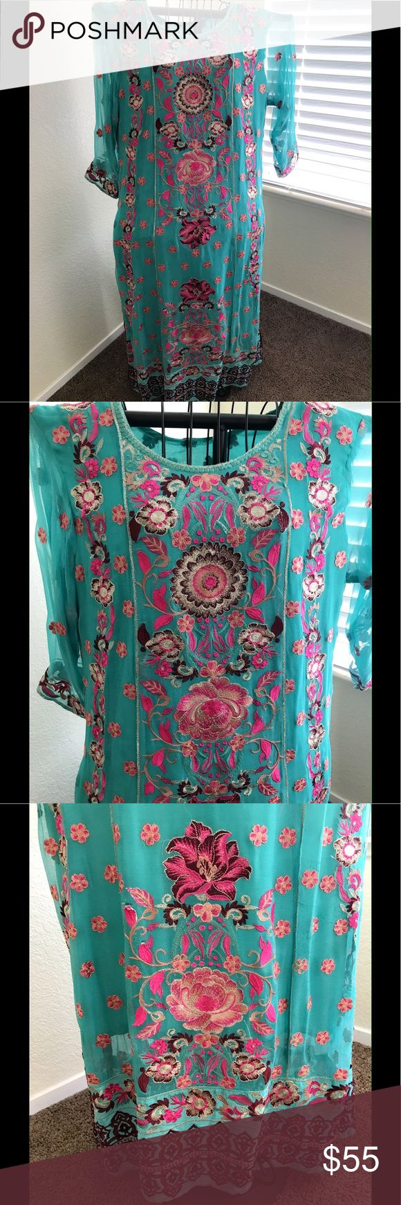 Pakistani shalwar kameez Selling brand new Pakistani/Indian shalwar kameez never worn. Comes in three pieces very beautiful. Feel free to ask questions.  Measurements  Chest:20 Arm:17 Shoulder:4 Length:48 Trouser:42 Dresses Long Sleeve