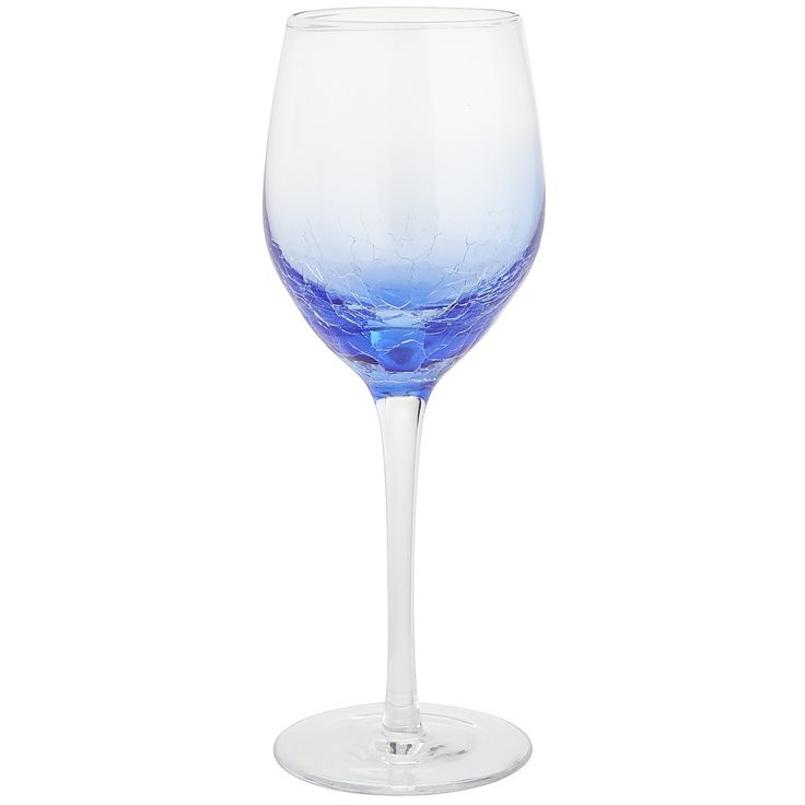 Crackle Red Wine Glass - Blue