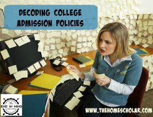 Navigating college admission requirements can be intimidating, especially for homeschoolers. Big words, scary phrases, acronyms … it's hard to cut through the code of admission policies! But take heart, once you break down to see what's behind all the edu-speak, usually you will find college policies are fairly reasonable. Let's look at some admission policies […]