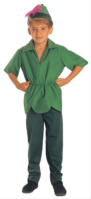Peter Pan Boy's Costume - This is a Peter Pan costume. This costume is inspired by the classic Disney character. This is a three-piece costume with a tunic, pants, and hat. The tunic has an open v-neck with a shirt collar. The short sleeves have a pointed cut that match the hemline of the shirt. The waist is elasticized. The pants are darker green with an elastic waistband. #peterpan #disney #boys #costume #yyc #calgary