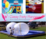 Classy Party Planners in Durban offer it all: Jumping castles, kiddie rides, large inflatables, zorb balls, foam party, pedal cars, sumo suites, pony rides, water balls unlimited space. Catering: cake, popcorn, candy floss, finger snacks, refrigerated juice machine, and slush machines. Kiddie and adult decor, balloons, helium, lanterns, birthday banners, etc for a classy look. Entertainment: Stilt walkers, face painters, magic show, karaoke etc.