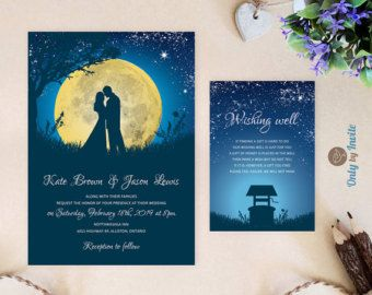 Starry Night Wedding Invitation and wishing well by OnlybyInvite