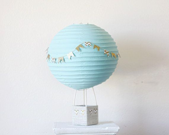 Hot Air Balloon décoration - bébé douche pièce maîtresse décoration - Decor Bridal Shower - Baby Shower Gift - pépinière Decor - Aqua