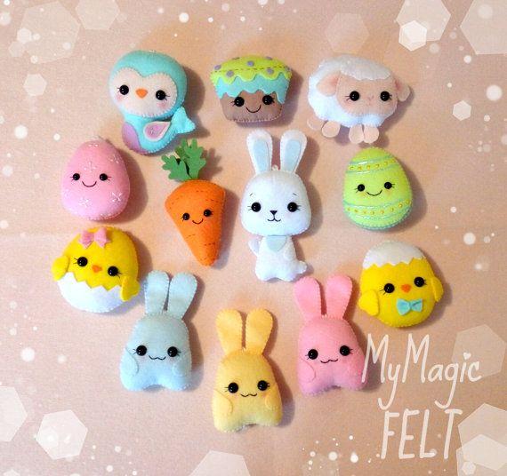 Big set of Easter ornaments felt decor Easter cute ornament felt gifts Easter decorations felt toys
