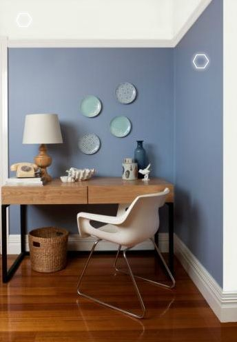 Warm Blue Walls due to Slight Mauve Undertone in colour perfect teamed with a fresh just Off White