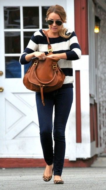 Lauren Conrad in J Brand jeans, Nautical sweater and round toed leopard print flats.
