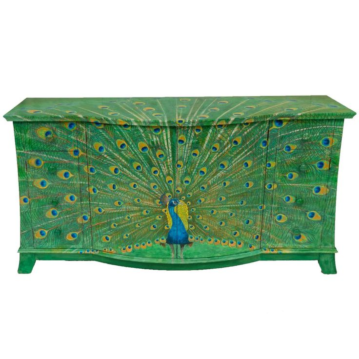 Lacquered Peacock Sideboard Hand-Painted by Kensa Designs | 1stdibs.com