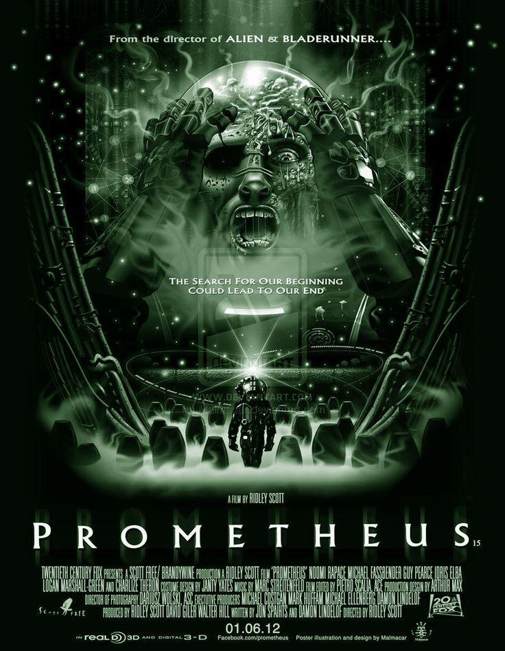 PROMETHEUS:  Een Amerikaanse sciencefictionfilm van Ridley Scott, die in juni 2012 wereldwijd in première ging.  Prometheus is de prequel van de Aliën-filmreeks, maar volgt een eigen verhaallijn die niet direct met de Alien-films is verbonden. De hoofdrollen worden gespeeld door Noomi Rapace, Michael Fassbender, Guy Pearce, Idris Elba, Logan Marshall-Green en Charlize Theron.