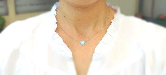 Opal heart necklace, tiny heart necklace, gold heart necklace on Etsy, $25.00