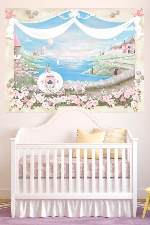 716 best inspiring nurseries images on pinterest baby for Barbie princess giant wall mural