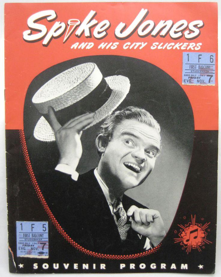 Spike Jones and His City Slickers Souvenir Program 1947 Studebaker Theatre Vtg