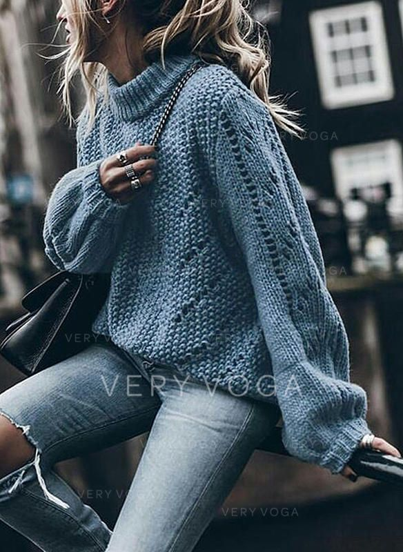 Solid Chunky knit Stand Collar Sweaters (1002250908)