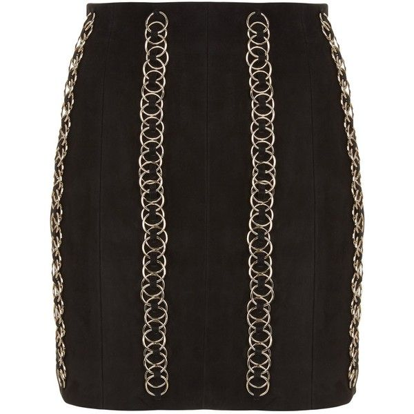 Balmain Chained Suede Mini Skirt ($3,180) ❤ liked on Polyvore featuring skirts, mini skirts, suede mini skirt, zip skirt, zipper mini skirt, mini skirt and military skirts