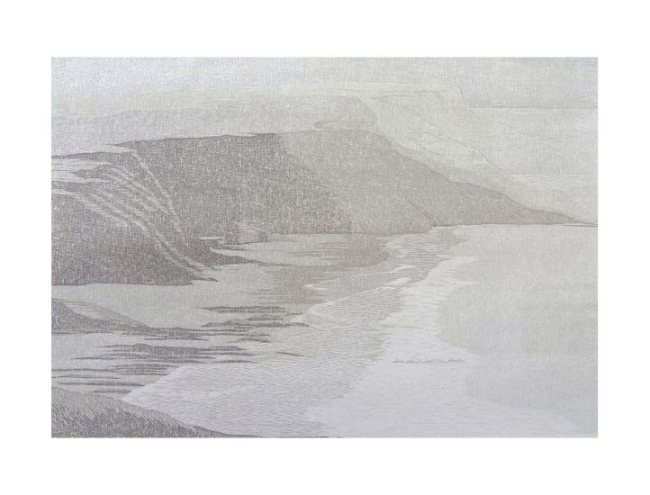 Martine Baldwin, Towards First Cove (North Cornwall Coast), reduction woodcut, 40 x 58 cm | Quercus Gallery