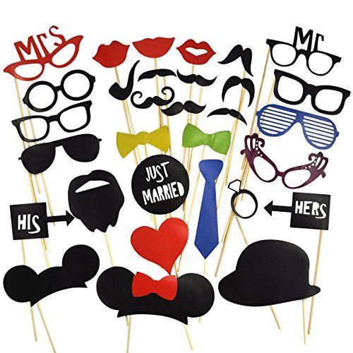 31 Tlg. Party Foto Verkleidung Schnurrbart Lippen Brille Krawatte Hüten Photo Booth Props Set Hochzeit Partymitbringsel Unbekannt http://www.amazon.de/dp/B00GSIWGW8/ref=cm_sw_r_pi_dp_kONbwb11F74BF