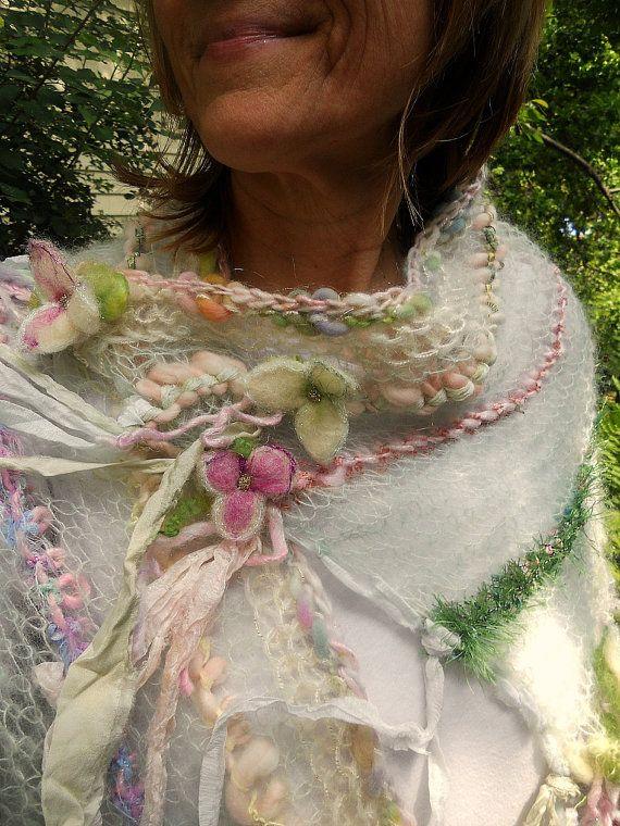 Handknit art yarn gossamer enchanted forest faerie patchwork wrap – summertime daydream
