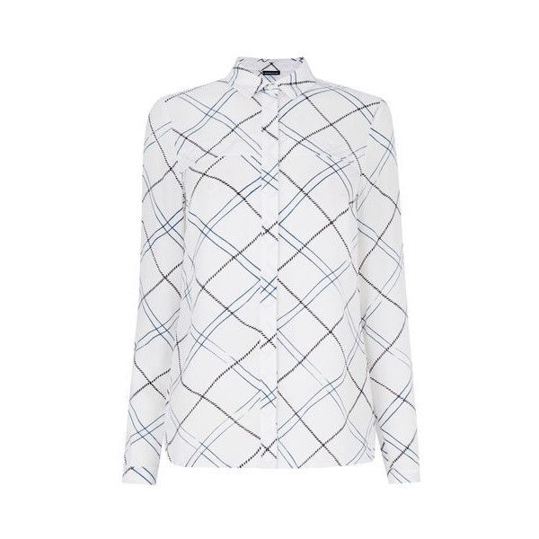 Warehouse Check Utility Shirt (£10) ❤ liked on Polyvore featuring multi, work shirts and utility shirt