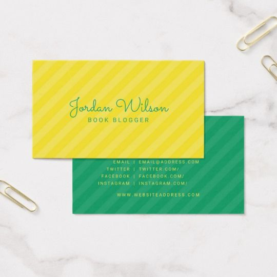 385 best business cards by rosewood and citrus on zazzle images on modern yellow green stripes blogger social media business card reheart Images