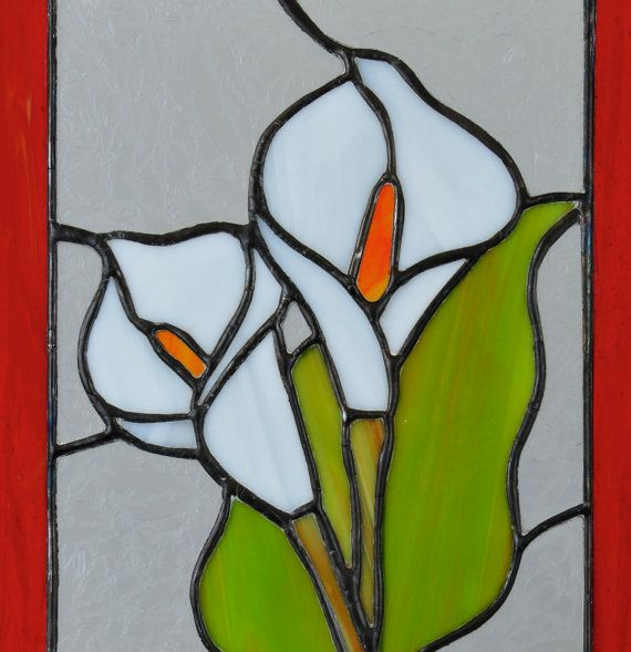 Calla lily art decorative stained glass panel