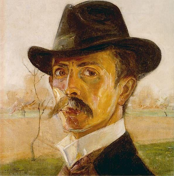 Vlastimil Hofman - Autoportret w kapeluszu, 1918