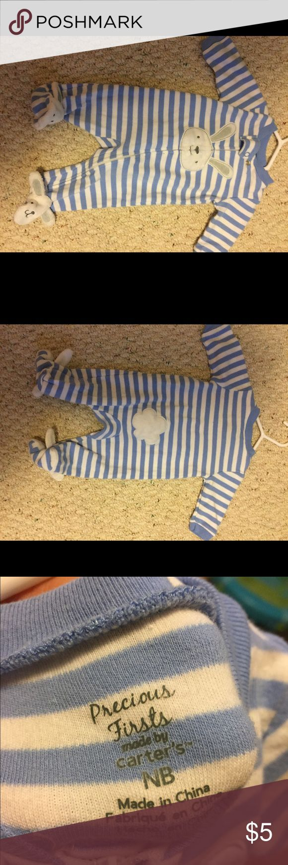 ADORABLE Newborn Boy Outfit Cute Bunny There are bunnies on the feet and a bunny tail on the tushy!!! Can you even stand it??? Boy clothes this cute are hard to find! Carter's One Pieces Footies