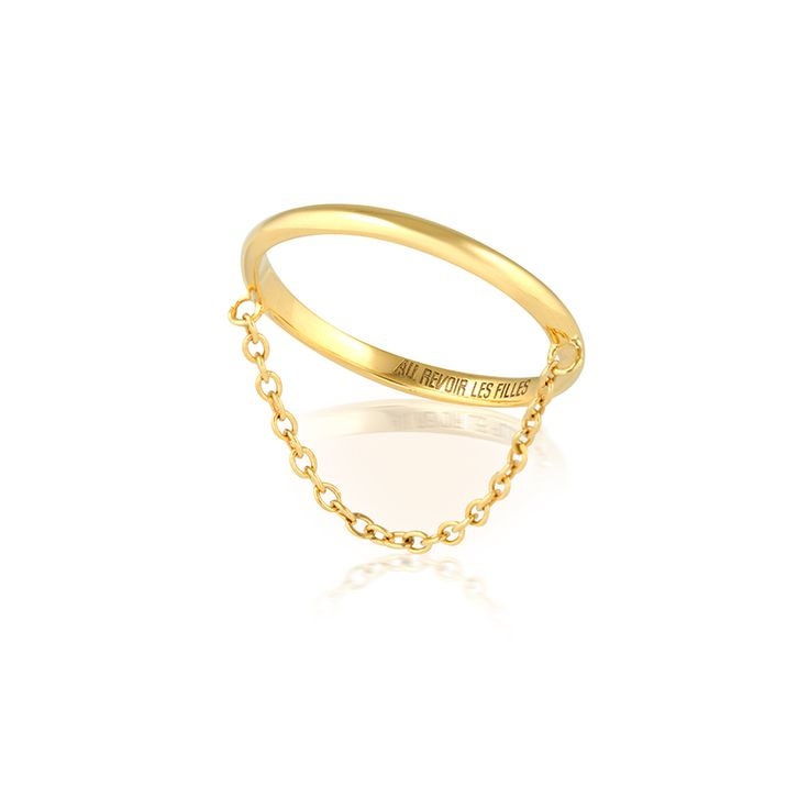 Minimal fine chain ring - SHOP NOW - Perfect for stacking - Beautiful band of brilliant gold made for the modern minimalist who loves to stand out with her jewellery | Orion Ring | AU REVOIR LES FILLES - Click to shop affordable fine jewellery