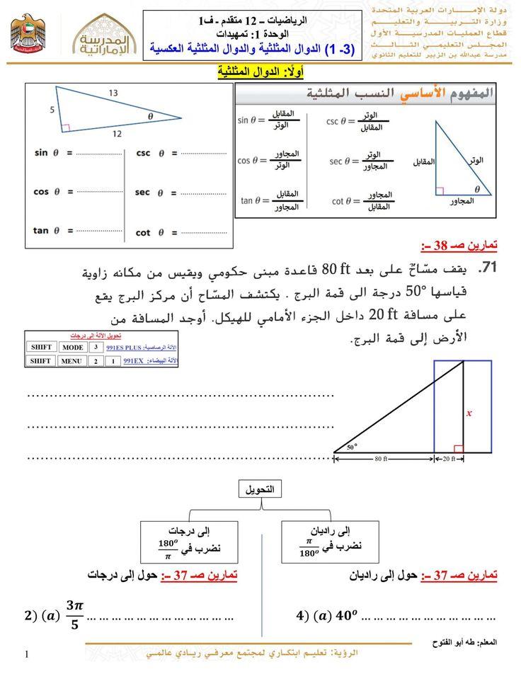 اوراق عمل الدوال المثلثية والدوال المثلثية العكسية للصف الثاني عشر متقدم مادة الرياضيات المتكاملة Chart Map Line Chart