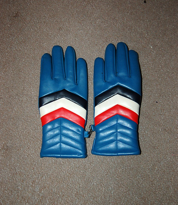 Vintage Multi Coloured Ski Gloves Leather by willowssecretgarden, $12.00