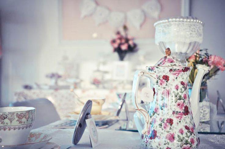 Vintage Bridal Shower High tea setting by www.prettylittlevintage.com.au