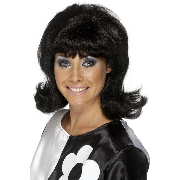 60S Flick-Up Wig, Black
