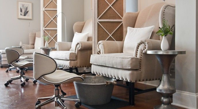 Country chic. Love the chairs... Needs real foot bath
