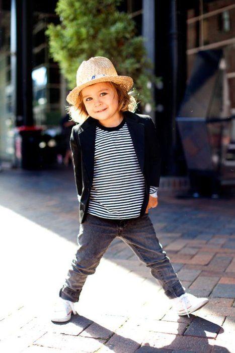 cute little boy in stripe shirt, blazer, white sneakers and grey pants <3