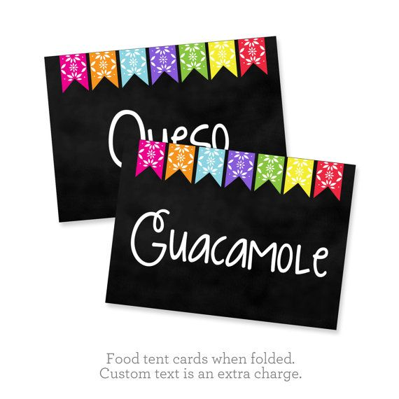 Fiesta Party Printable Table Signs Taco Bar by SunshineInkStudio