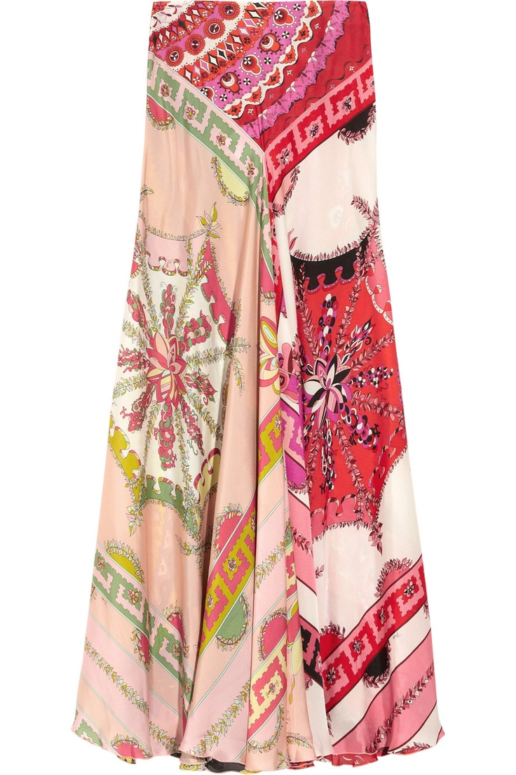 Emilio Pucci Printed silk-charmeuse maxi skirt NET-A-PORTER.COM