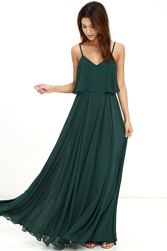 We're absolutely love struck over the Love Runs High Forest Green Maxi Dress…