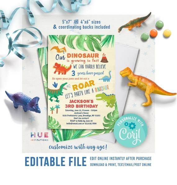 dinosaur birthday invitation editable