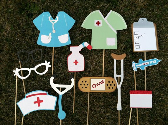 PHOTO BOOTH PROPS   nursing theme by flutterbugfrenzy on Etsy, $27.75