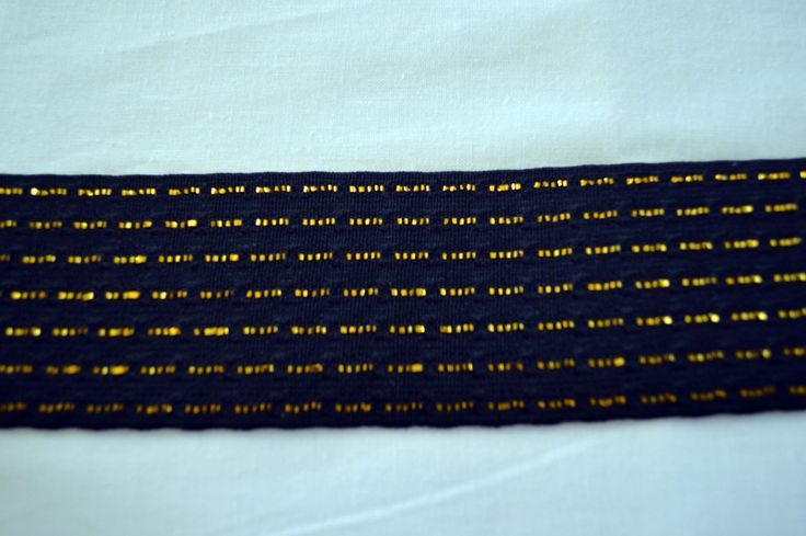 Black and gold waist elastic, 5 cm wide. black stretch with gold thread though out. by TheQuiltedCheese on Etsy
