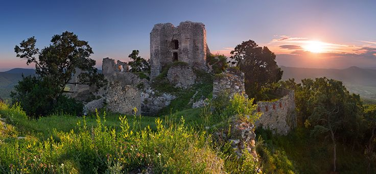 Gymes Castle ruins located above the village of Jelenec in the Tribec mountains, Slovakia. Photo TTstudio.
