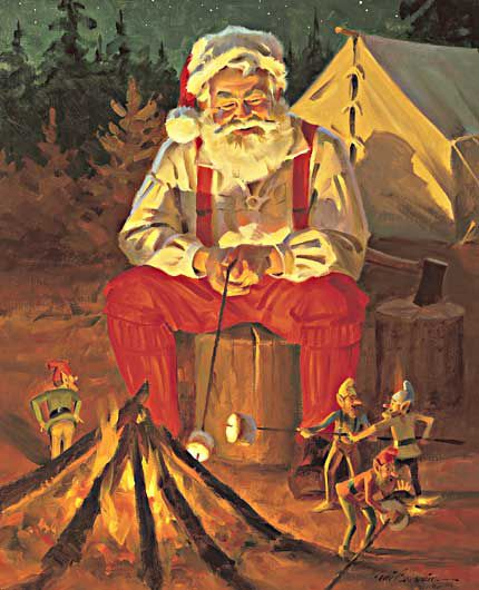 Santa's Happy Campers - May your Christmas Be Merry and Bright - Tom Browning Christmas Cards