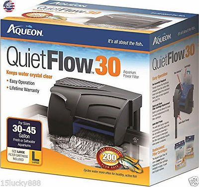 30 Gallon Power Filter Aqueon QuietFlow 200 GPH Fish Tank Aquarium Clean Water