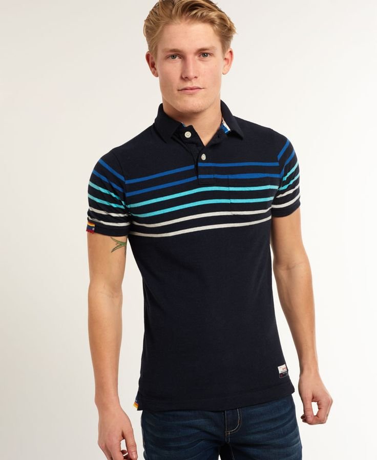 Mens - Bay Stripe Polo Shirt in Eclipse Navy Marl Mi | Superdry